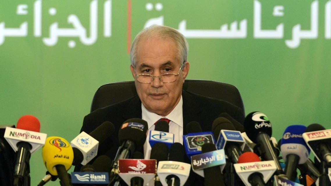 (FILES) In this file photo taken on April 18, 2014, then Algerian Interior Minister Tayeb Belaiz announces the results of the presidential election during a press conference in Algiers. Belaiz, the head of Algeria's constitutional council stepped down today after weeks facing the ire of protesters, state television reported. (AFP)
