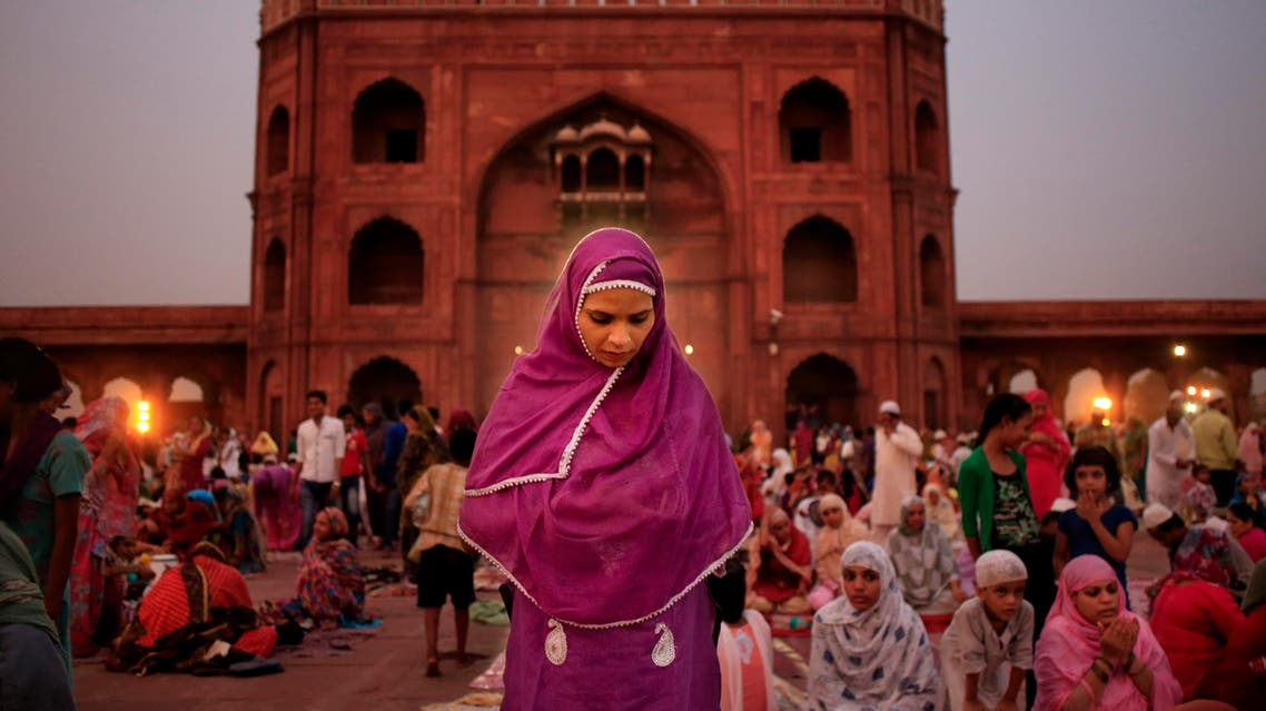 An Indian Muslim woman prays at the Jama Masjid mosque in New Delhi on July 6, 2014. (AP)