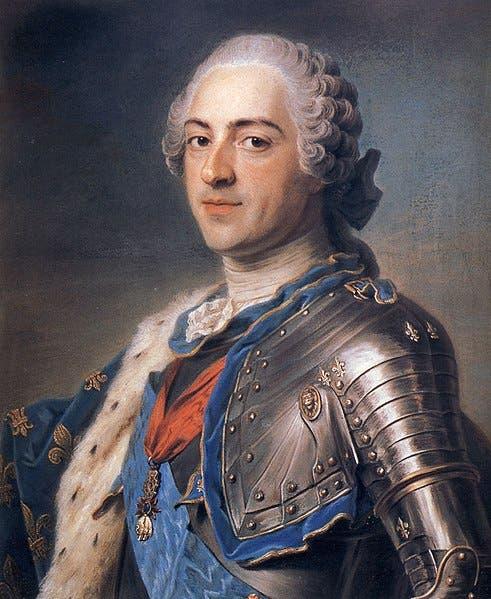 لوحة زيتية تجسد الملك الفرنسي لويس الخامس عشر