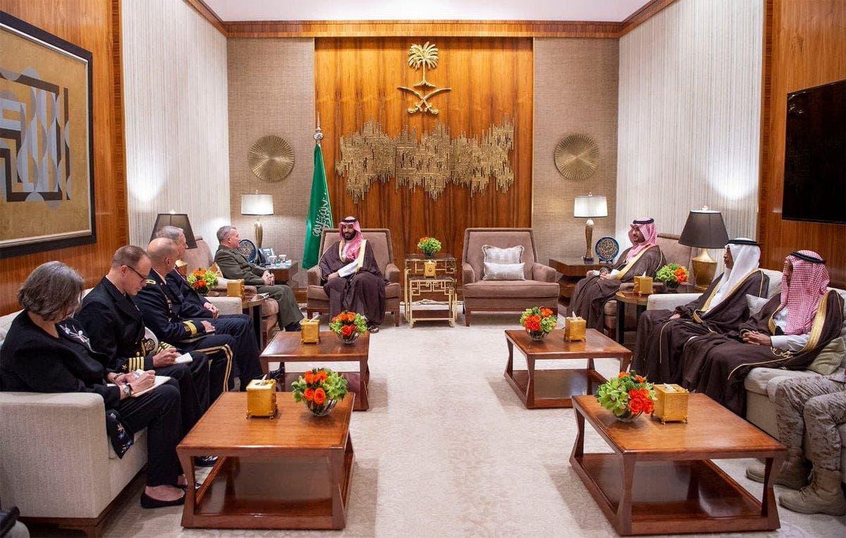 Saudi Crown Prince Mohammed bin Salman met US Central Command commander General Kenneth McKenzie at al-Yamamah Palace. (SPA)