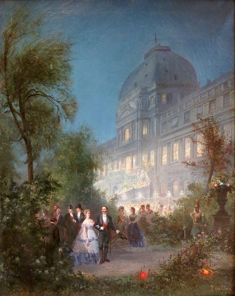 لوحة زيتية تجسد احتفالا داخل قصر التويليري في حدود العام 1867