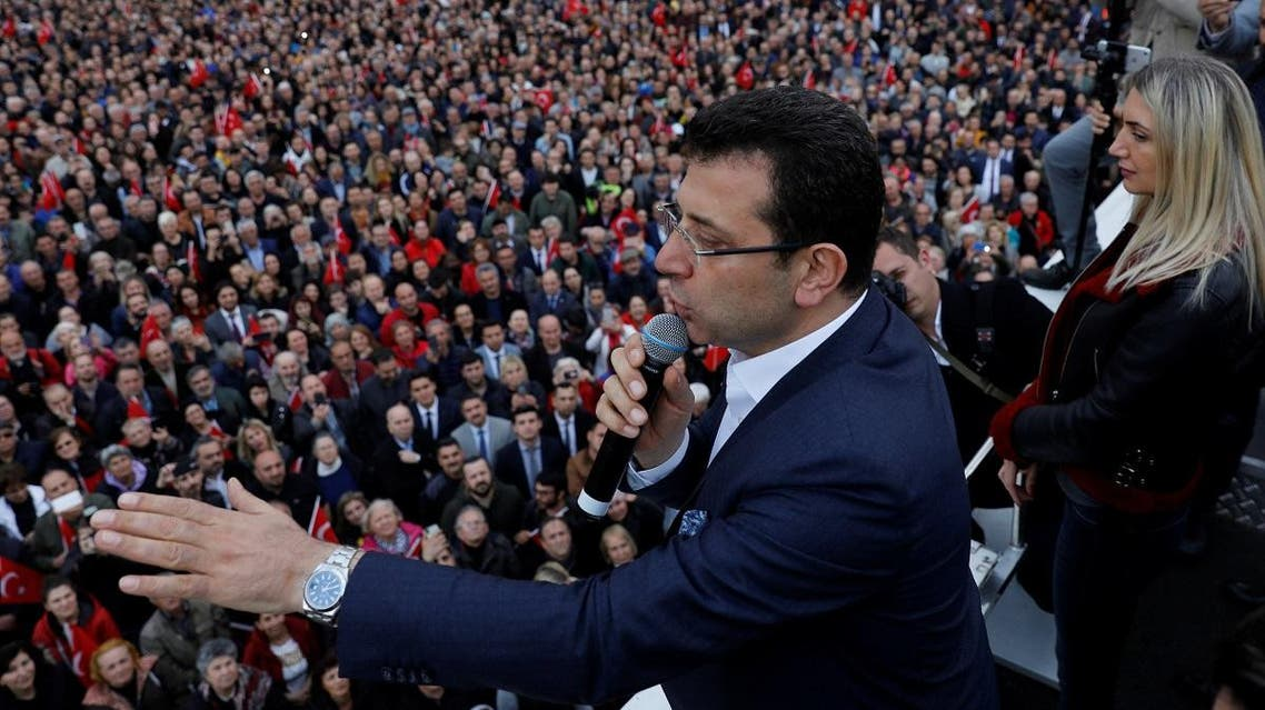 Main opposition Republican People's Party mayoral candidate Ekrem Imamoglu addresses his supporters during a gathering in Istanbul. (Reuters)