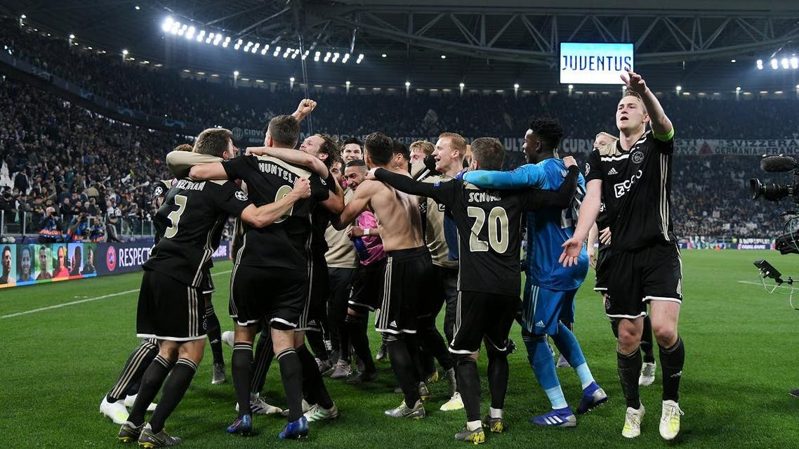 Ajax players celebrate after their 2-1 win against Juventus in the Champions League at Allianz Stadium, Turin, Italy, on April 16, 2019. (Reuters)