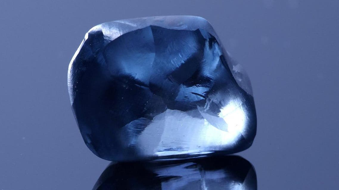 A blue diamond, weighing over 20 carats, is seen in this undated handout picture released by Okavango Diamond Company (ODC) in Gaborone, Botswana, April 17, 2019. (Reuters)