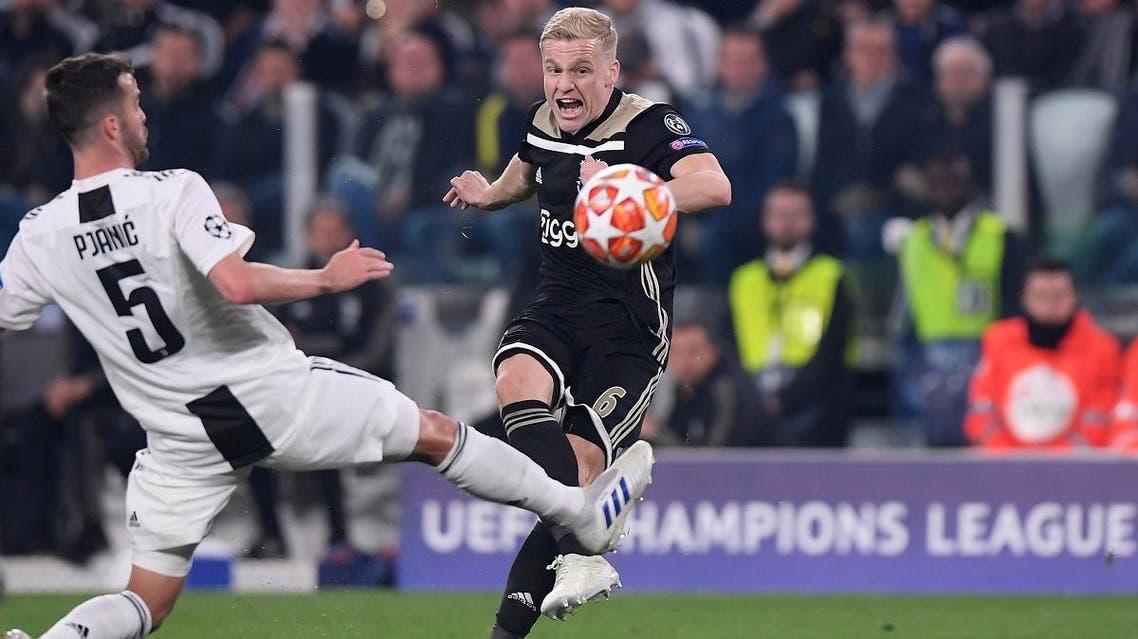 Ajax's Donny van de Beek shoots at goal in the match against Juventus. (Reuters)