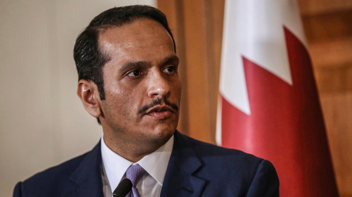 This handout picture released and taken on April 9, 2019 by the Turkish Foreign ministry press services shows Qatari Deputy Prime Minister and minister for Foreign Affairs Mohammed bin Abdulrahman Al Thani speaking during a press congerence after his meeting with Turkey's minister for Foreign Affairs in Ankara.