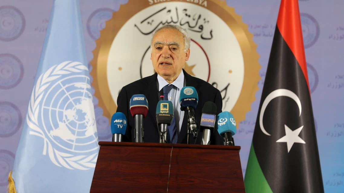 The U.N. Envoy for Libya, Ghassan Salame, speaks during a news conference in Tripoli, Libya April 6, 2019. REUTERS/Hani Amara