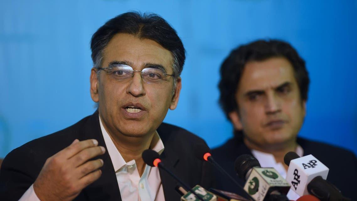 Asad Umar speaks during a press conference in Islamabad on November 30, 2018. (AFP)