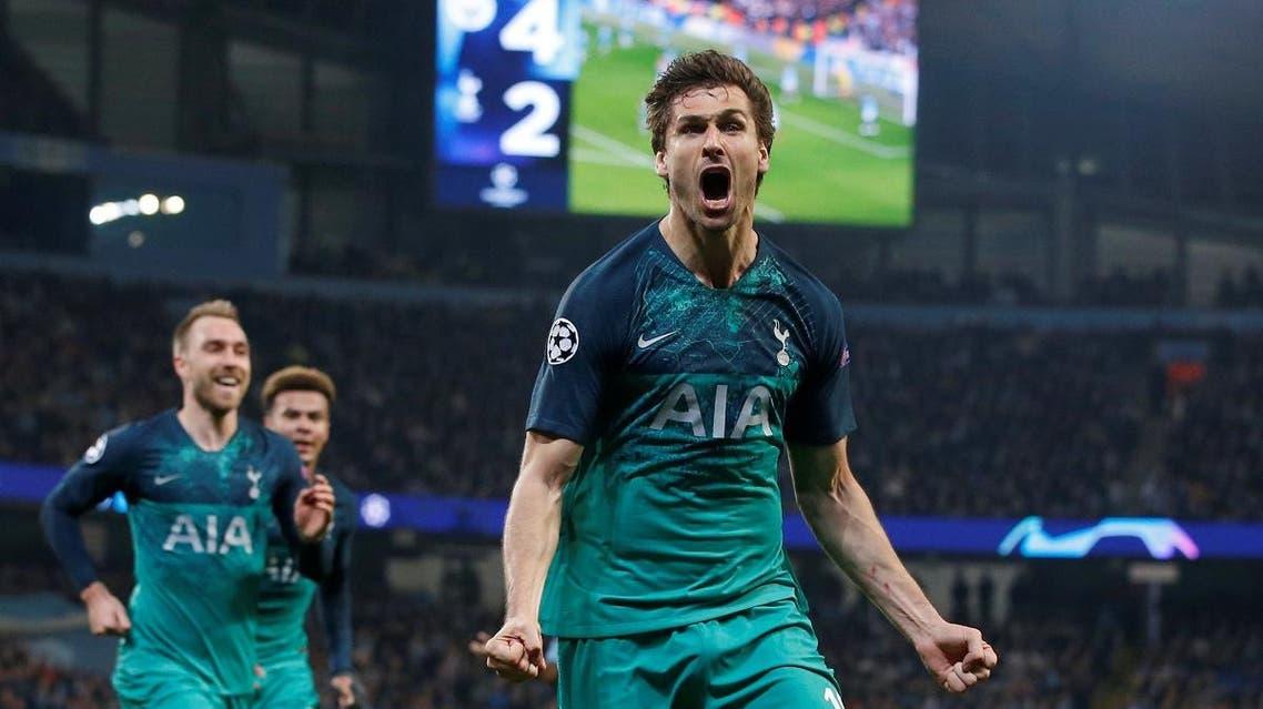 Tottenham's Fernando Llorente celebrates scoring their third goal. (Reuters)