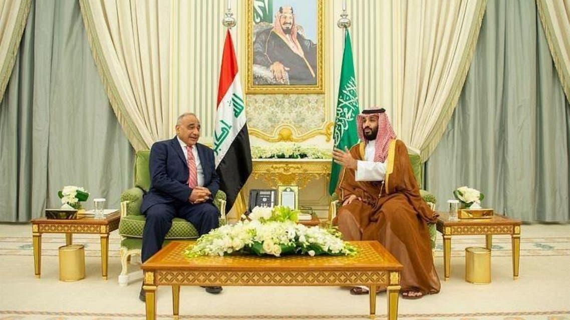 Crown prince Mohammed bin Salman met with Iraqi Prime Minister Adil Abdul-Mahdi in Riyadh on Wednesday. (SPA)