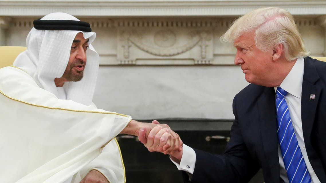 n this May 15, 2017, file photo, President Donald Trump shakes hands with Abu Dhabi's crown prince, Sheikh Mohammed bin Zayed Al Nahyan, in the White House in Washington. Emails obtained by The Associated Press between business partners Elliott Broidy and George Nader reveal that the pair was working with bin Zayed in a lobbying effort to alter U.S. policy in the Middle East. (AP)