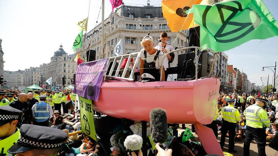 British actress Emma Thompson addressing the media atop a pink boat at Oxford Circus in central London on April 19, 2019. (AFP)