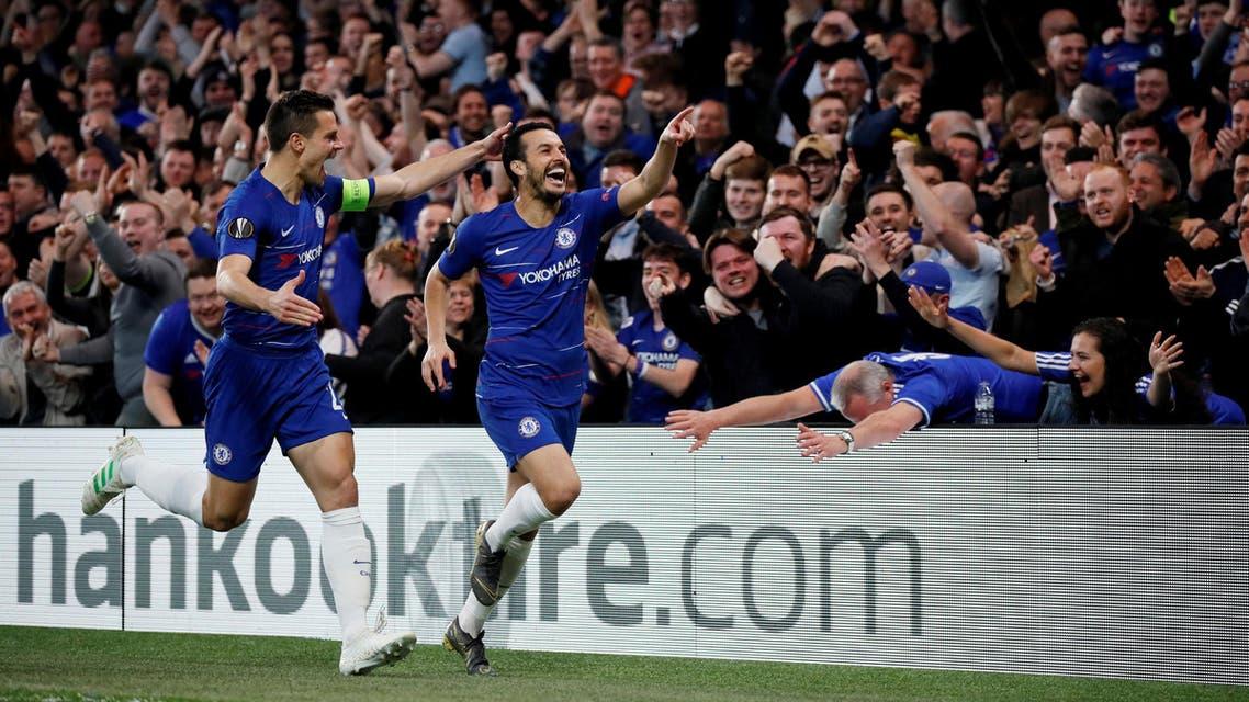 Europa League - Quarter Final Second Leg - Chelsea v Slavia Prague - Stamford Bridge, London, Britain - April 18, 2019 Chelsea's Pedro celebrates scoring their first goal with Cesar Azpilicueta (reuters)