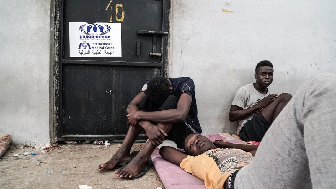 Illegal immigrants are seen at a detention center in Zawiyah, 45 km west of the Libyan capital Tripoli, on June 17, 2017. (AFP)