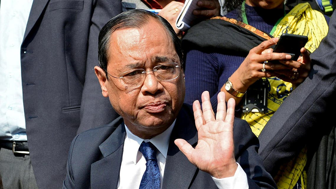 FILE PHOTO: Ranjan Gogoi, a Supreme Court judge, gestures as he addresses the media at a news conference in New Delhi, India January 12, 2018. REUTERS