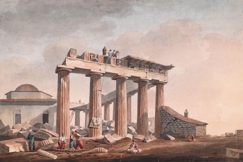 لوحة تجسد عملية انتزاع جانب من آثار البارثينون من قبل البريطانيين
