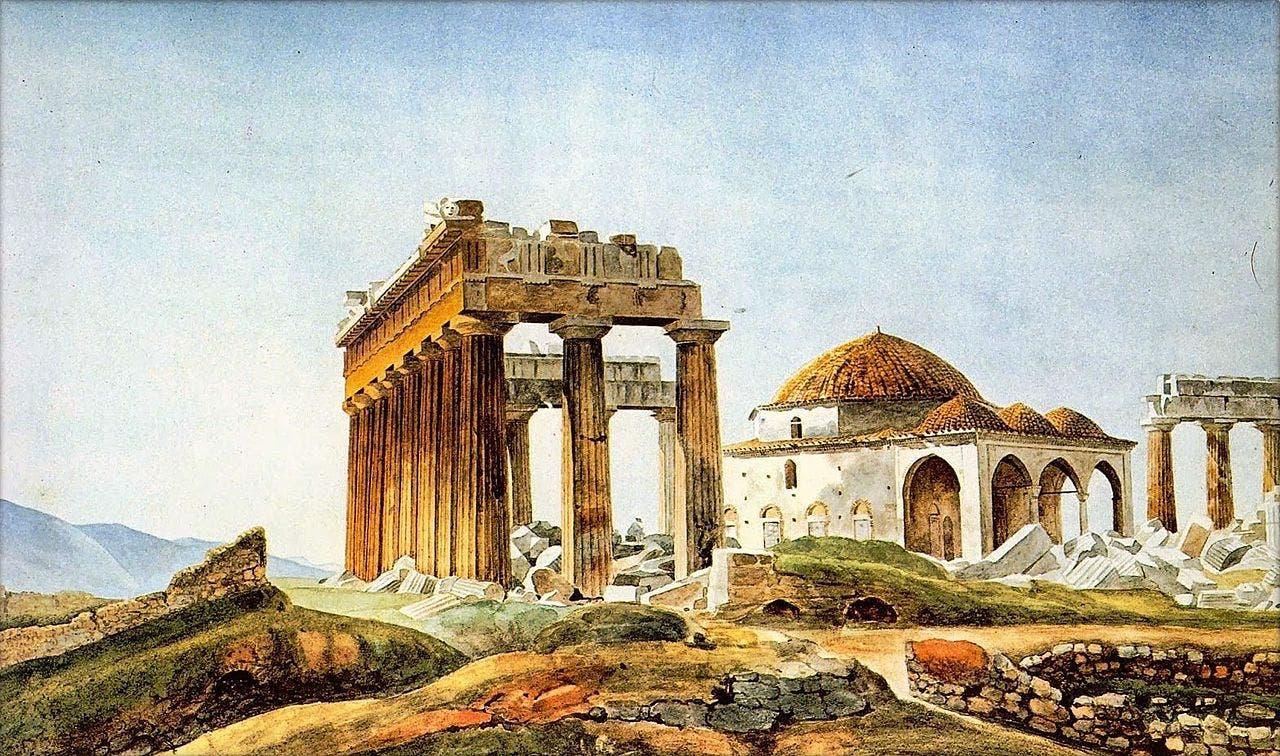 لوحة زيتية تجسد البارثينون سنة 1715 وتبدو صورة المسجد واضحة بها