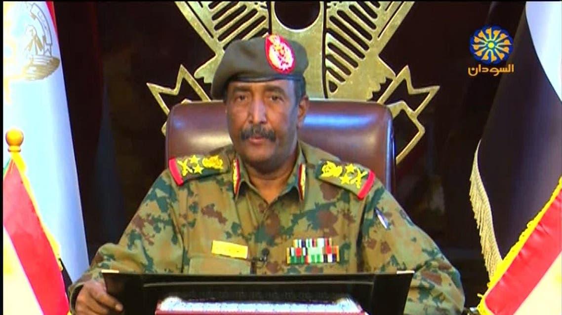A grab from a broadcast on Sudan TV on April 13, 2019 shows Lieutenant General Abdel Fattah al-Burhan Abdulrahman, new chief of Sudan's ruling military council, in the capital Khartoum. (AFP)