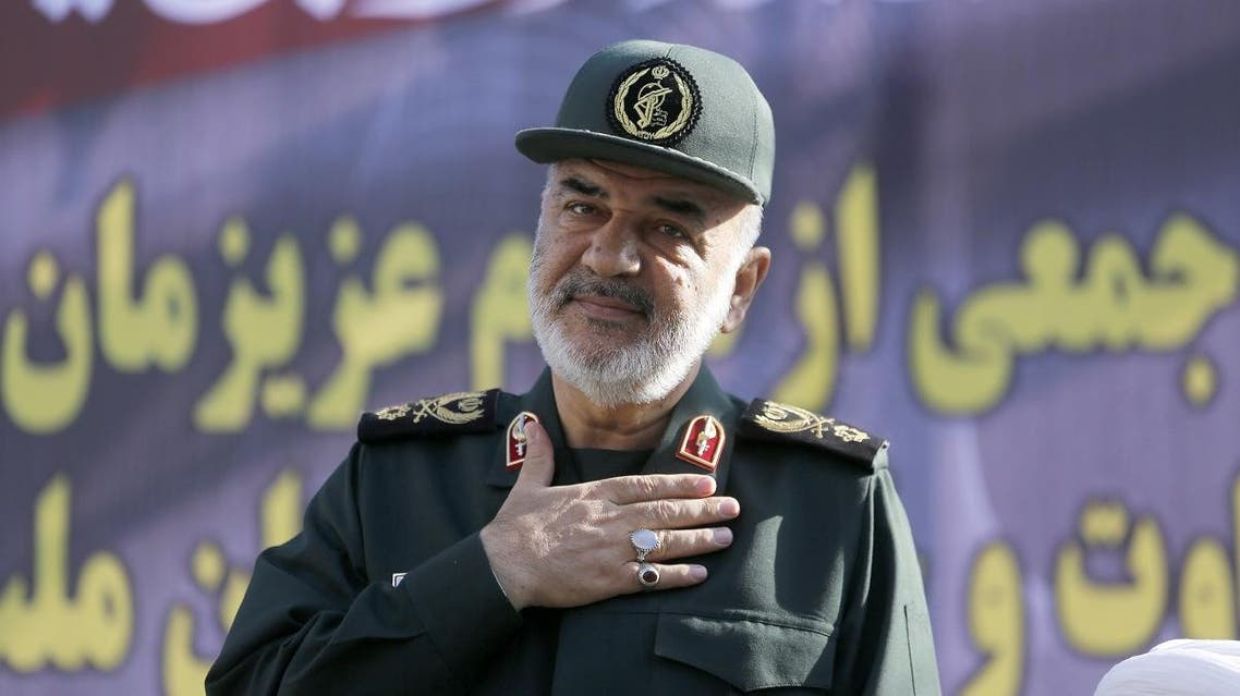 In this file photo taken on September 24, 2018 Hossein Salami deputy commander of the Islamic Revolutionary Guard Corps attends a public funeral ceremony. (AFP)