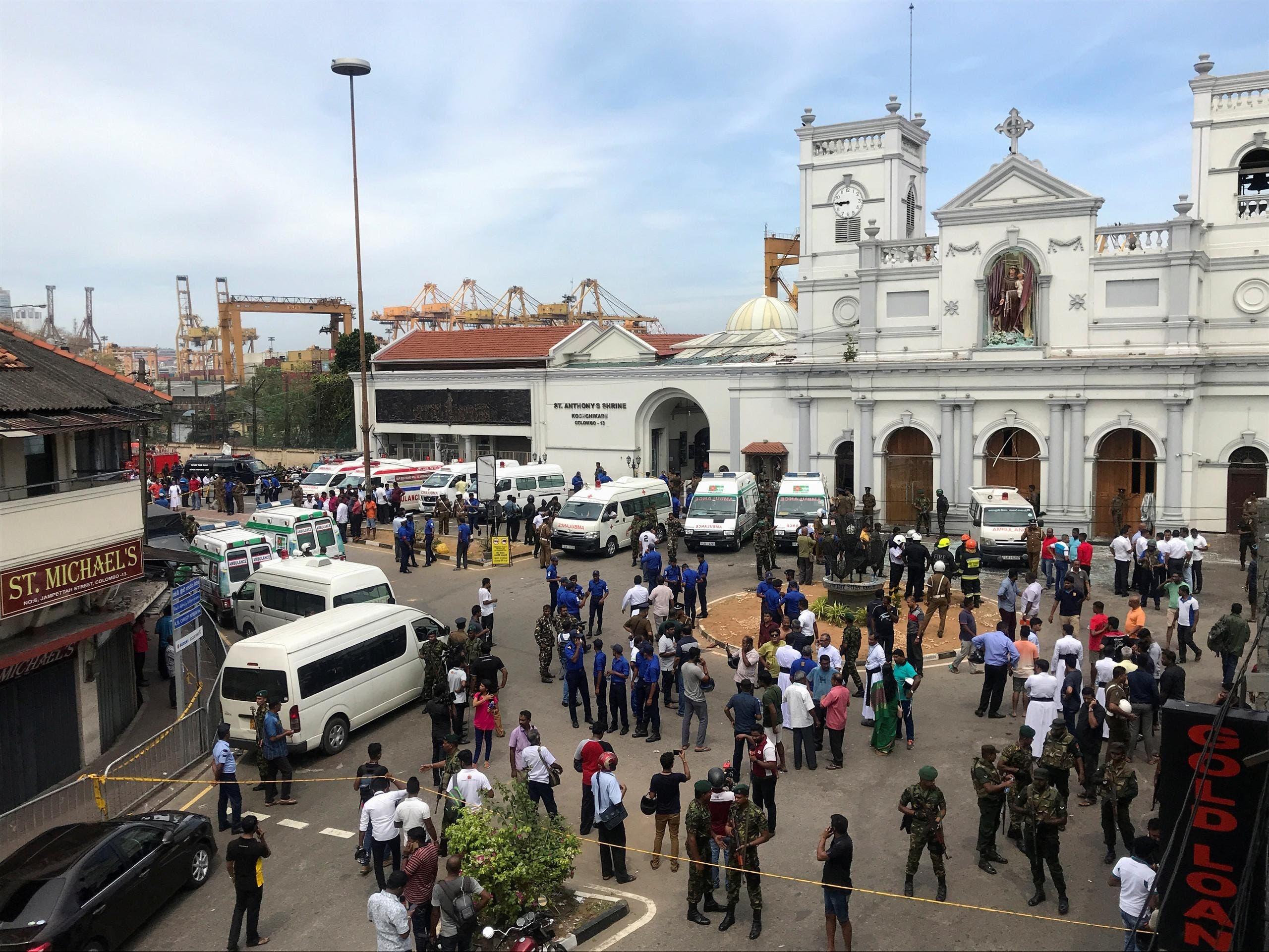 موقع أحد التفجيرات الإرهابية في سريلانكا
