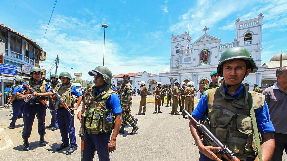 Sri Lankan Army soldiers secure the area around St. Anthony Shrine after a blast in Colombo, Sri Lanka, Sunday, April 21, 2019. (AP)