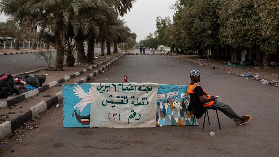 A protester mans a checkpoint at entrance number three to the sit-in inside the Armed Forces Square, in Khartoum, Sudan, Wednesday, April 17, 2019. (AP)
