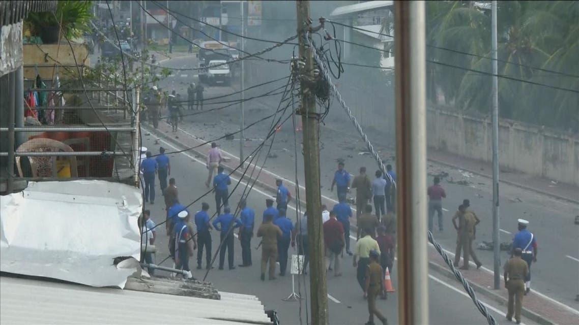 شاهد لحظة الانفجار الجديد أمام كنيسة في سريلانكا