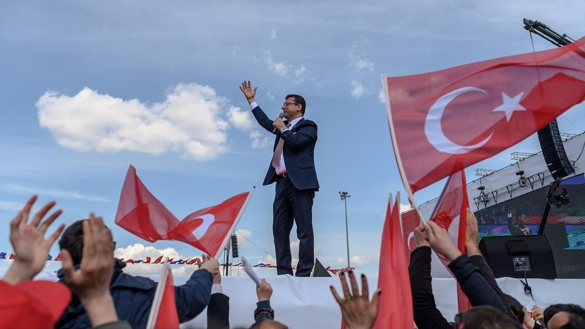 Istanbul's new mayor Ekrem Imamoglu delivers a speech on April 21, 2019 during a rally in Istanbul as he celebrates after narrowly edging out his rival to capture Istanbul mayor's office. (AFP)