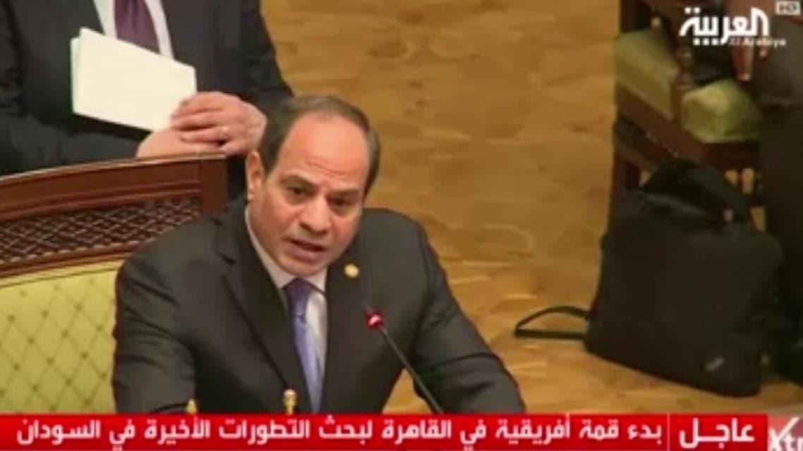 Sisi African Union summits on Libya and Sudan. (Screengrab)