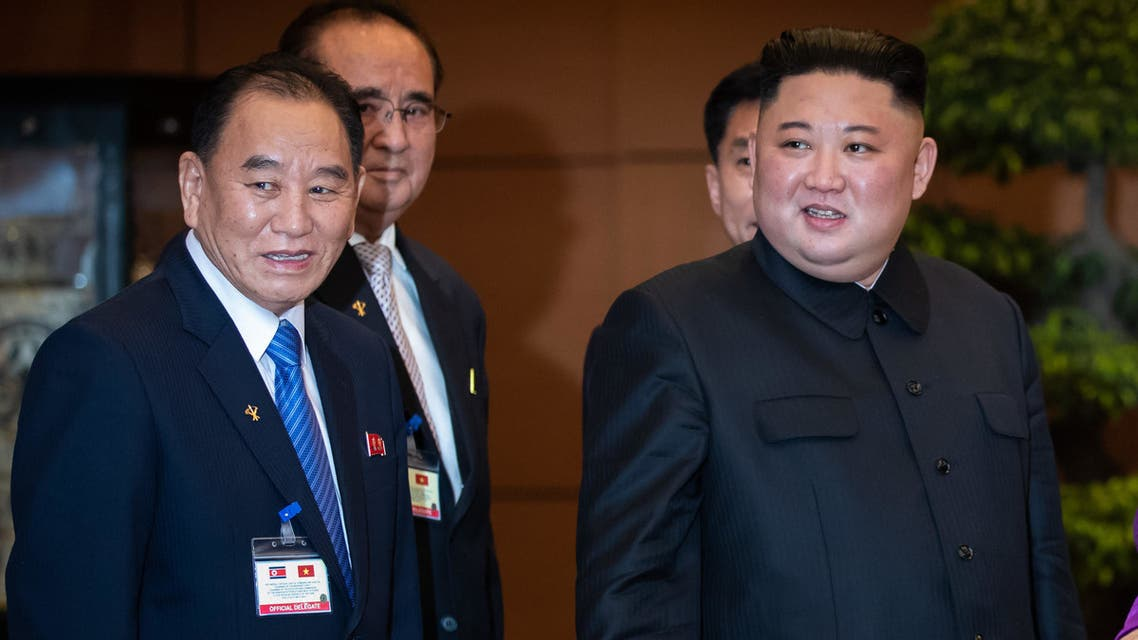 North Korea's leader Kim Jong Un (C) stands with Nguyen Thi Kim Ngan (R), chairwoman of Vietnam's National Assembly, and Kim Yong Chol (L), vice chairman of worker's party of Korea, at the National Assembly in Hanoi on March 1, 2019.