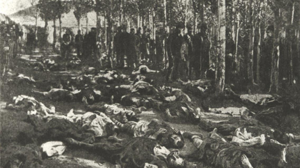 صورة لعدد من الأرمن القتلى خلال المذابح الحميدية ما بين عامي 1894 و1896
