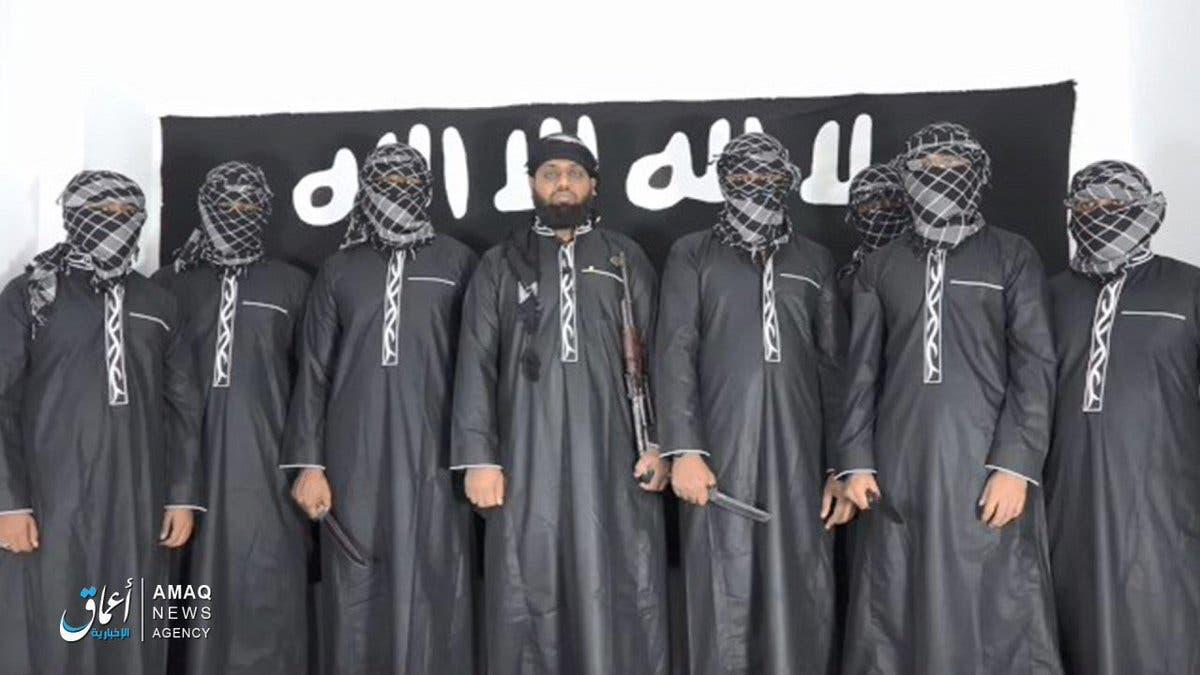 عکسی که خبرگزاری اعماق وابسته به داعش از عاملان حملات انتحاری سریلانکا منتشر کرد