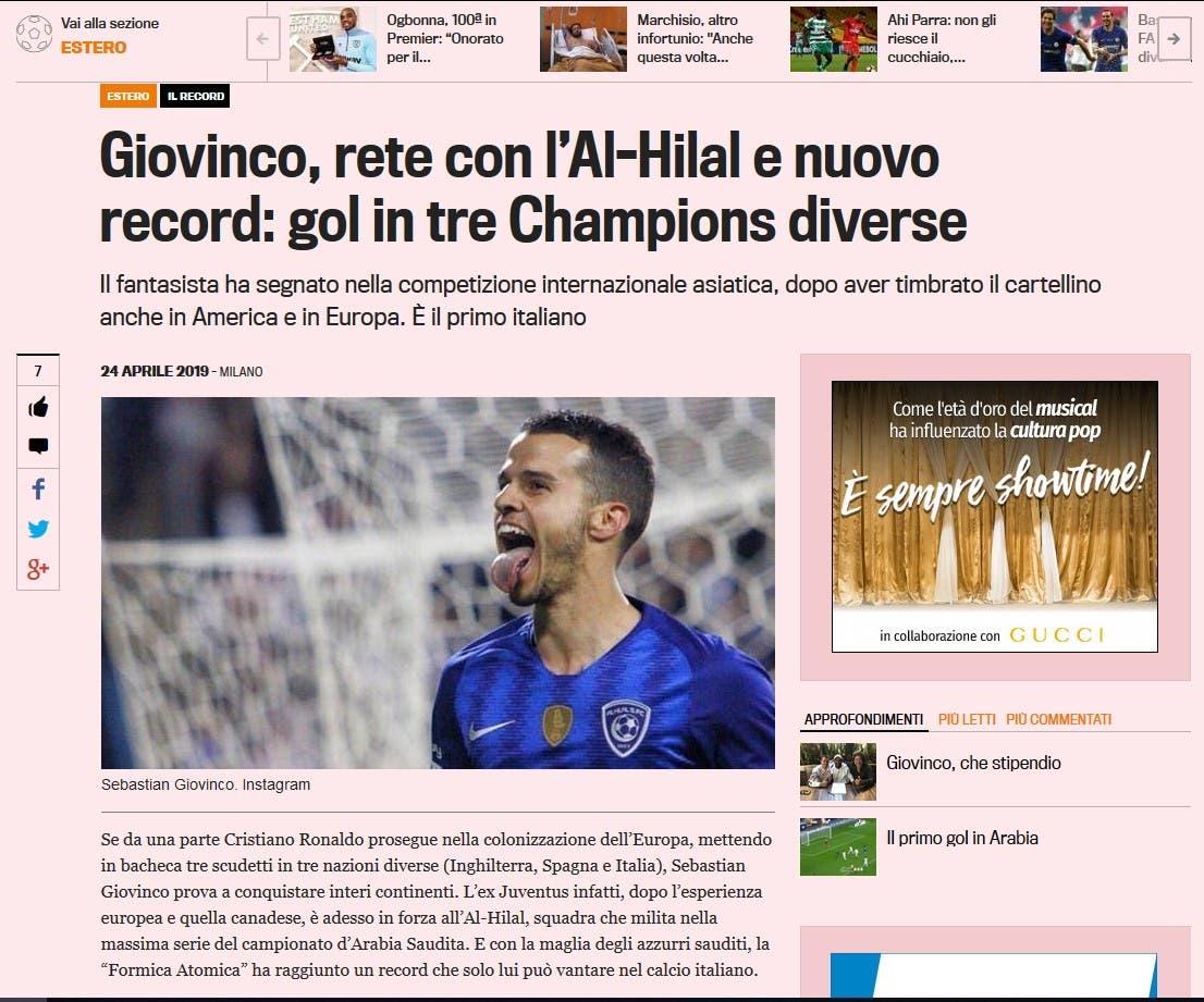 تقرير الصحيفة الإيطالية