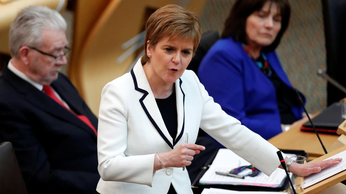 Scotland's First Minister Nicola Sturgeon speaks in the Scottish Parliament during continued Brexit uncertainty in Edinburgh, Scotland, Britain, April 24, 2019. REUTERS/Russell Cheyne
