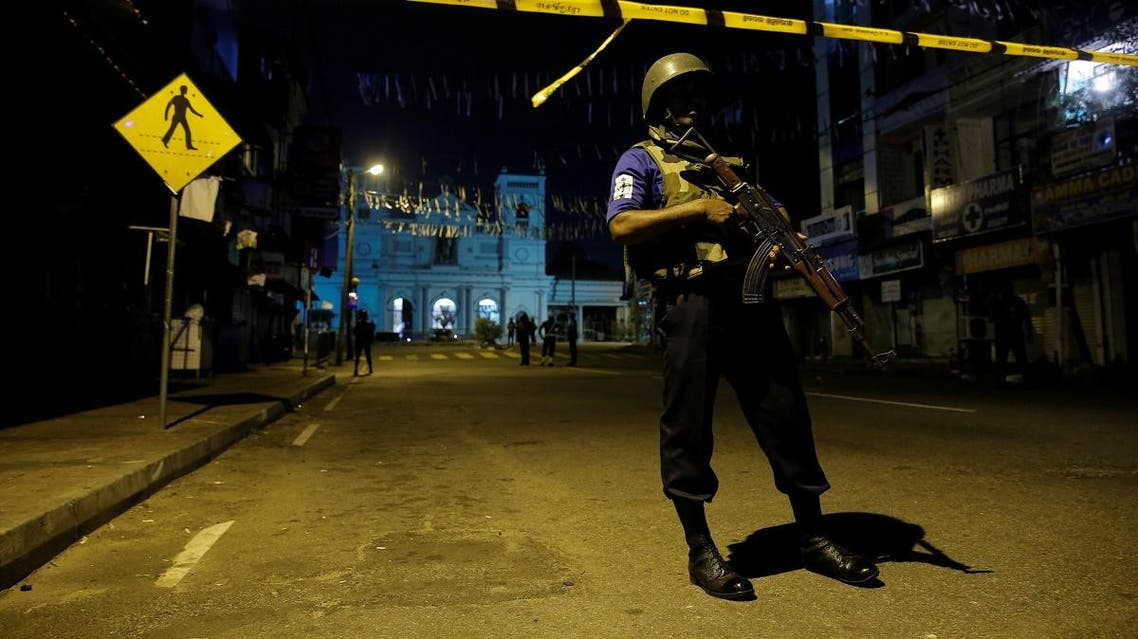Security forces stand guard at St. Antony shrine, days after a string of suicide bomb attacks on churches and luxury hotels across the island on Easter Sunday, in Colombo. (Reuters)