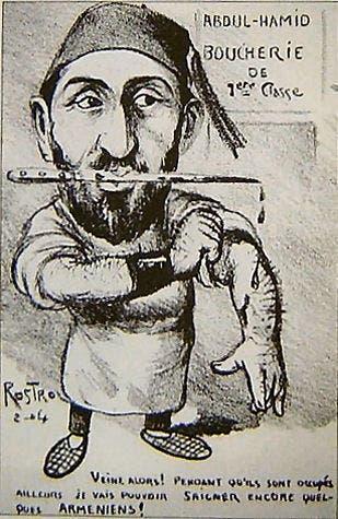 رسم كاريكاتيري ساخر بإحدى الصحف الفرنسية يجسد السلطان عبد الحميد الثاني الملقب بالسلطان الدامي والسلطان الأحمر
