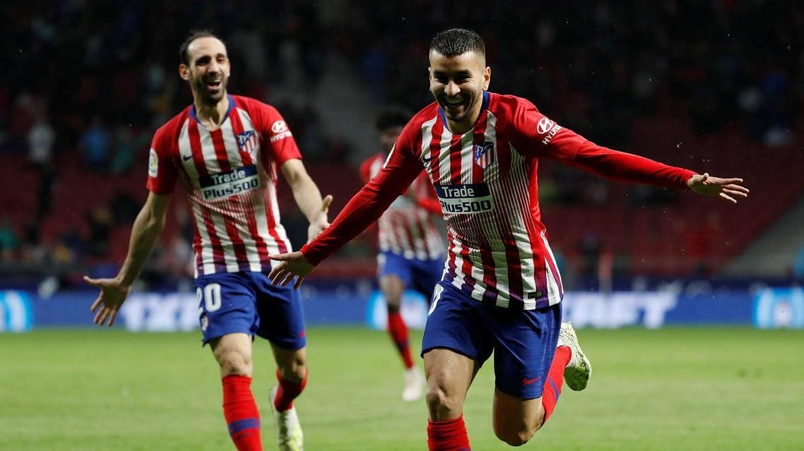 Atletico Madrid's Angel Correa celebrates scoring their third goal. (Reuters)