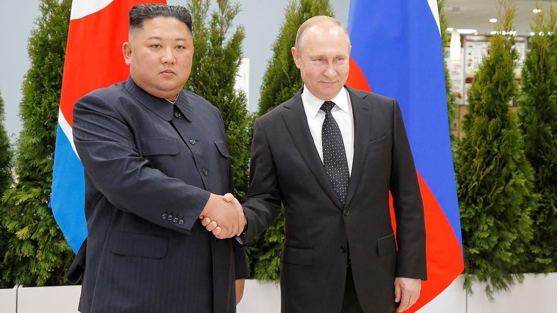 Russian President Vladimir Putin and North Korea's leader Kim Jong Un shake hands during their meeting in Vladivostok, Russia, on April 25, 2019. (Reuters)