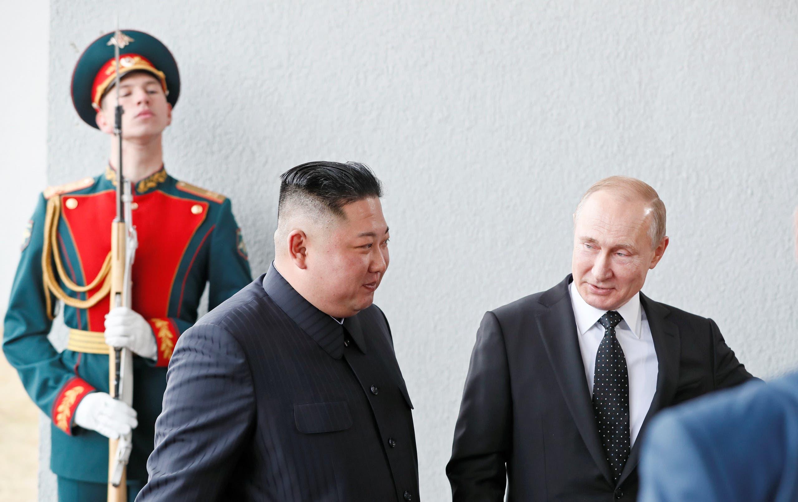 ولادیمیر پوتین رئیسجمهوری روسیه و کیم جونگ اون رهبر کره شمالی