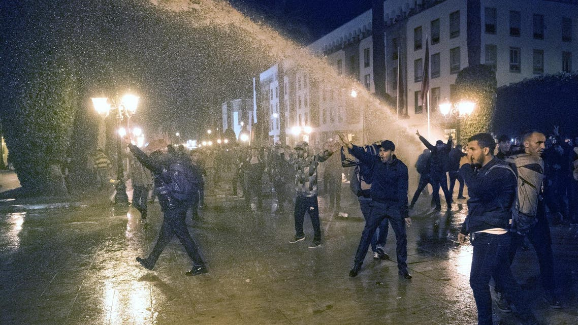 Moroccan police used water cannon Wednesday night to disperse a demonstration in the capital by thousands of contract teachers protesting over their employment terms.(AFP)