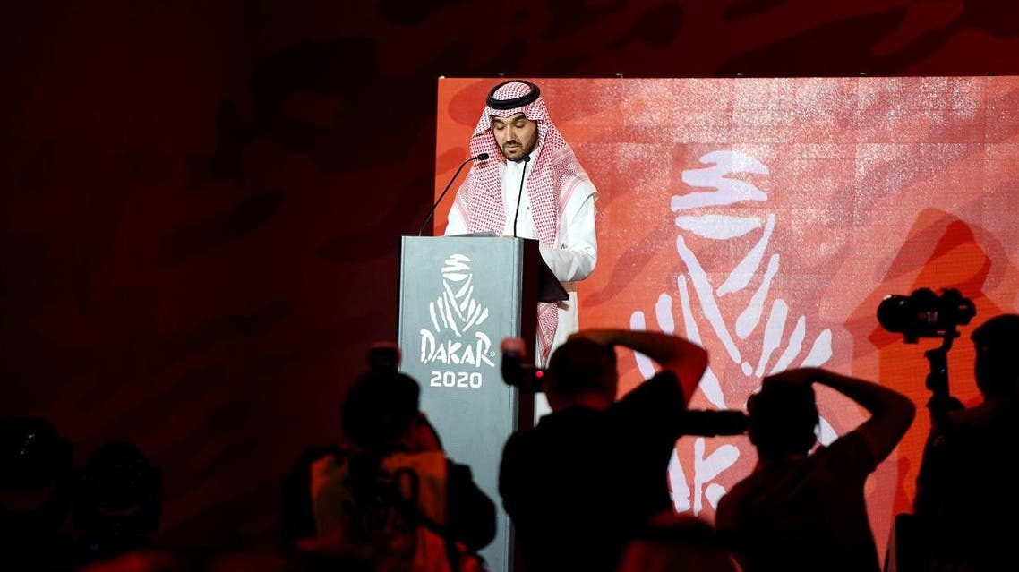 President of the General Authority for Sport Prince Abdulaziz bin Turki Al-Faisal speaks during the press conference at al Qiddiya in Riyadh, Saudi Arabia April 25, 2019. (Reuters)