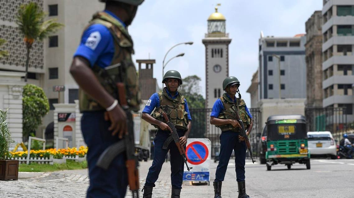 Soldiers take up their positions at a checkpoint on a street in Colombo on April 25, 2019, following a series of bomb blasts targeting churches and luxury hotels on the Easter Sunday in Sri Lanka. (AFP)