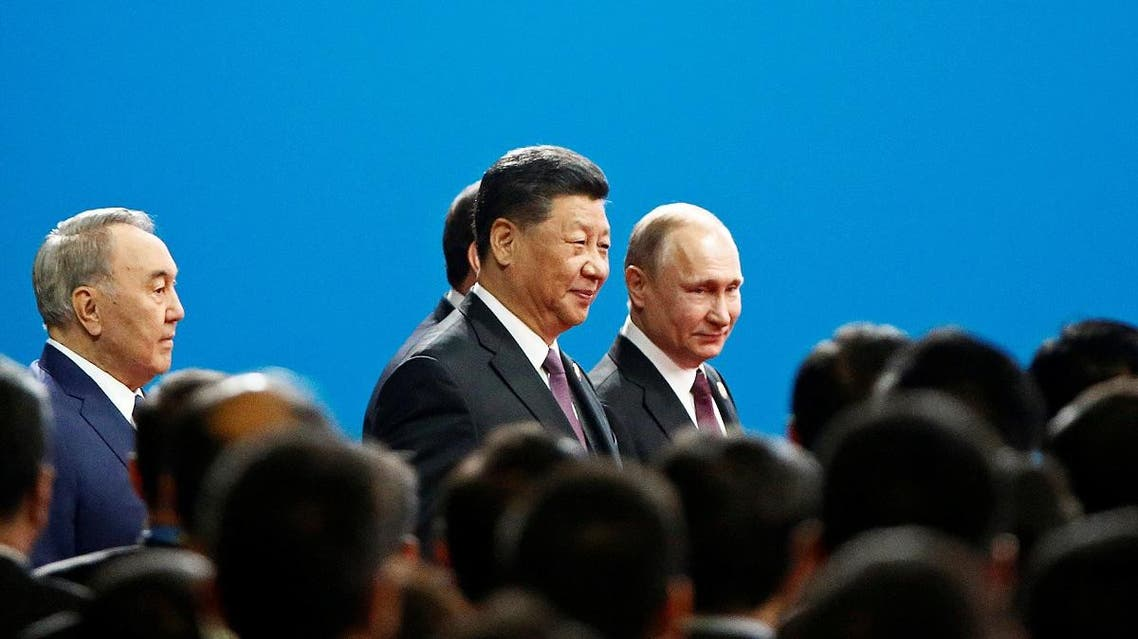 Chinese President Xi Jinping and Russian President Vladimir Putin arrive for the opening ceremony for the second Belt and Road Forum in Beijing, China, on April 26, 2019. (Reuters)