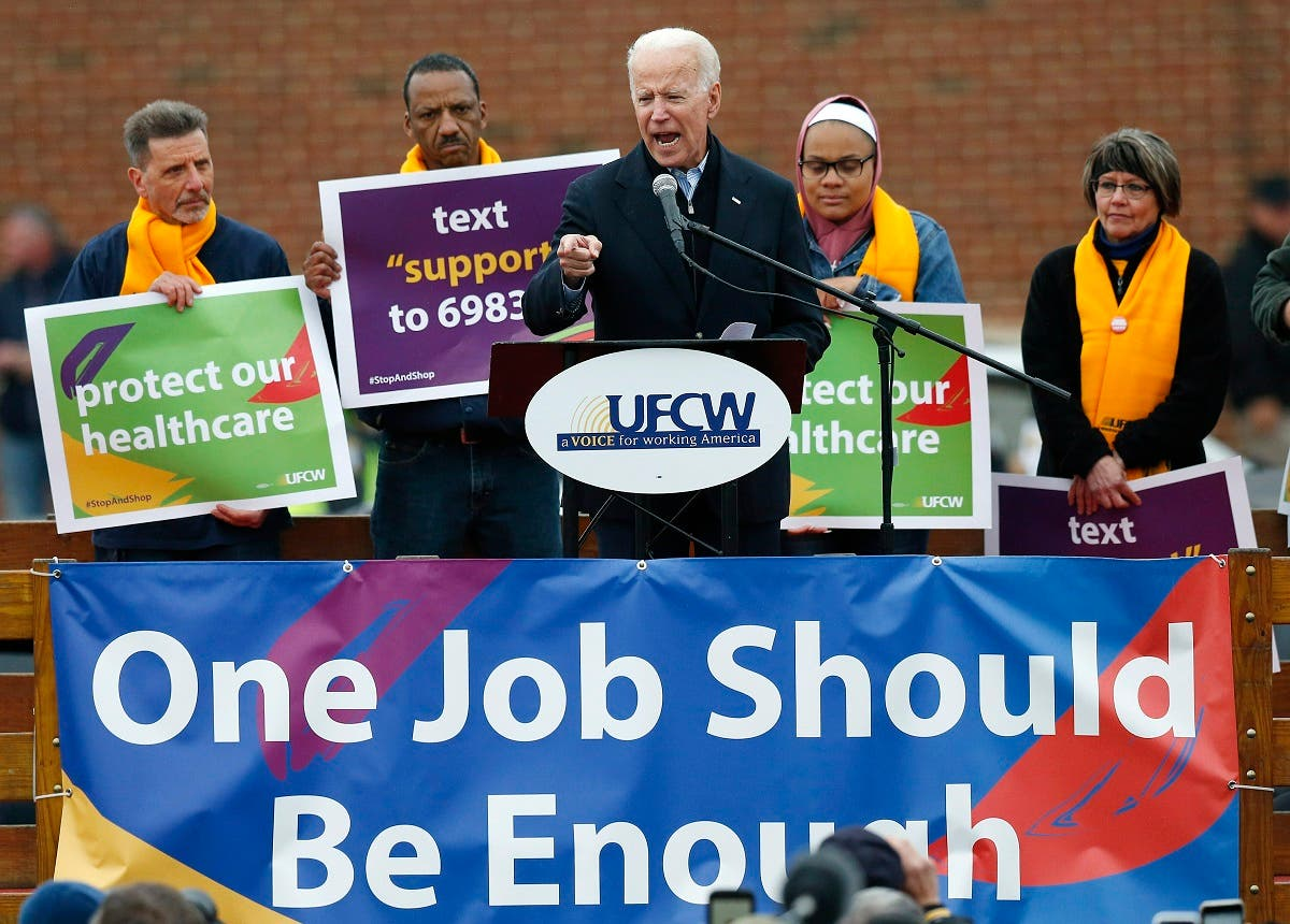 Former vice president Joe Biden speaks at a rally in support of striking Stop & Shop workers in Boston, Thursday, April 18, 2019. (AP)