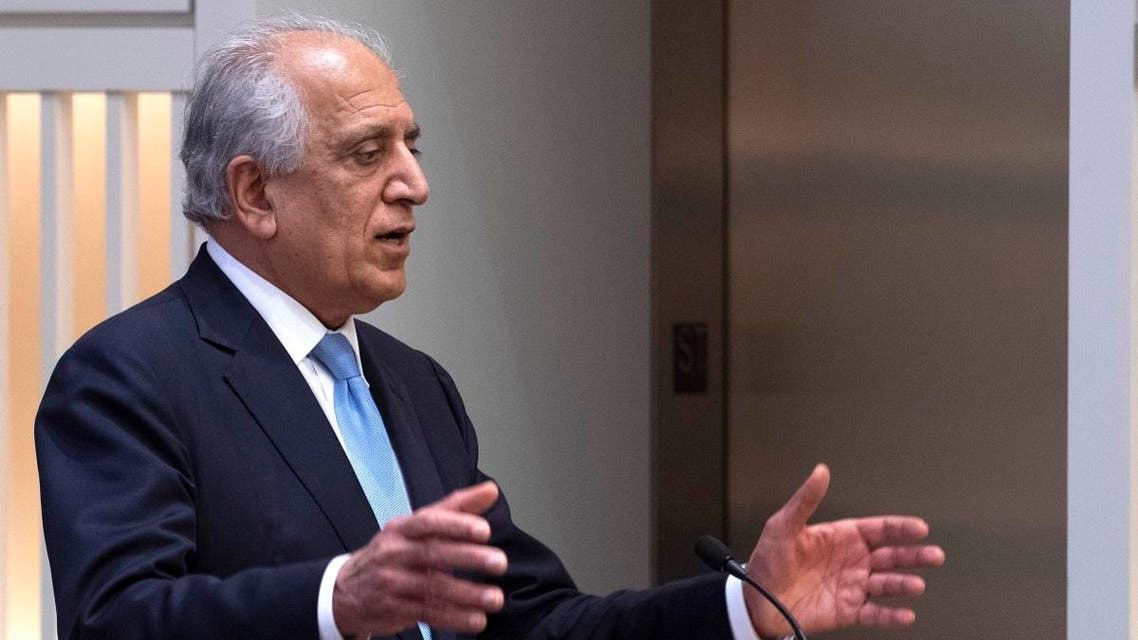 "US Special Envoy Zalmay Khalilzad participates in a discussion on ""The Prospects for Peace in Afghanistan"" at the United States Institute of Peace (USIP) in Washington, DC. (AFP)"