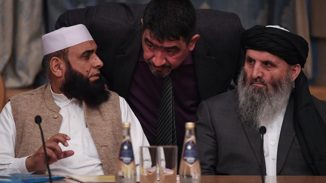 Representatives of the Taliban attend international talks on Afghanistan in Moscow on November 9, 2018.