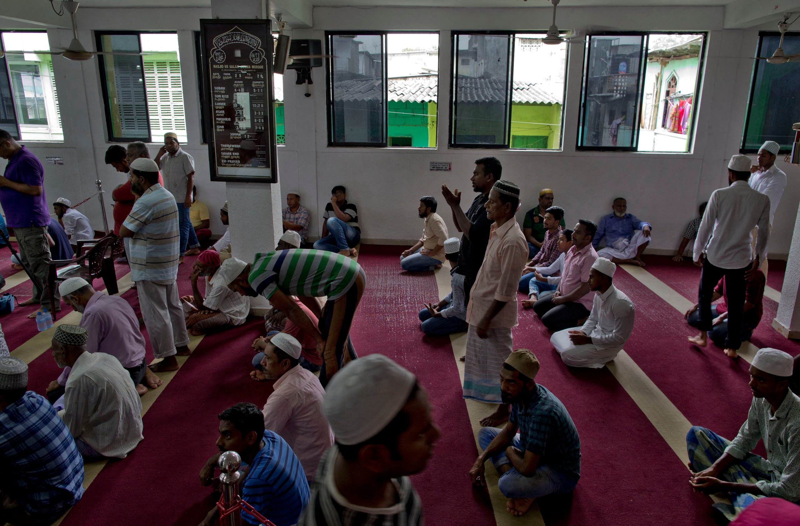Muslim men gather to pray at a mosque in Colombo, Sri Lanka, Friday, April 26, 2019. (AP)