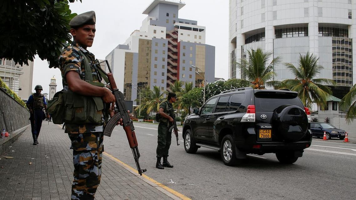 A security officers patrol outside a luxury hotel, days after a string of suicide bomb attacks across the island on Easter Sunday, in Colombo. (Reuters)