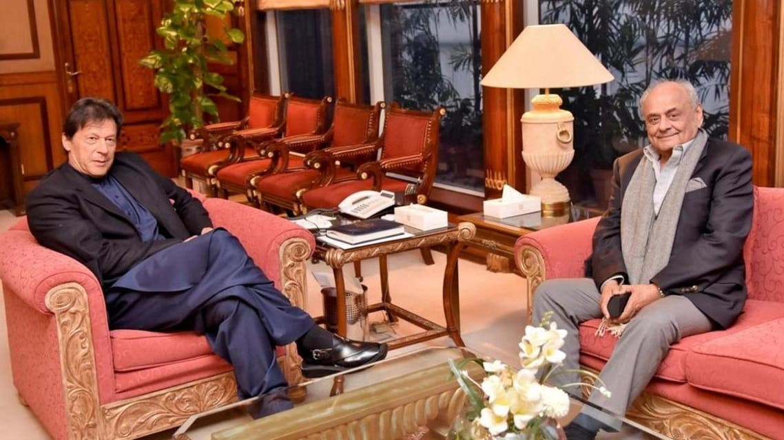 File photo of Brigadier Ijaz Ahmed Shah, Minister of the National Assembly (MNA), meets with Prime Minister Imran Khan at the Prime Minister Office in Islamabad. (Reuters)