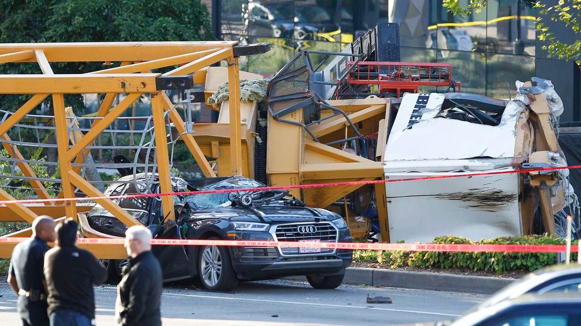Emergency crews work at the scene of a construction crane collapse where several people were killed and others were injured Saturday, April 27, 2019, in the South Lake Union neighborhood of Seattle. (AP)